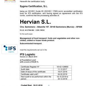 Certificado Oficial IFS Logistics Hervian