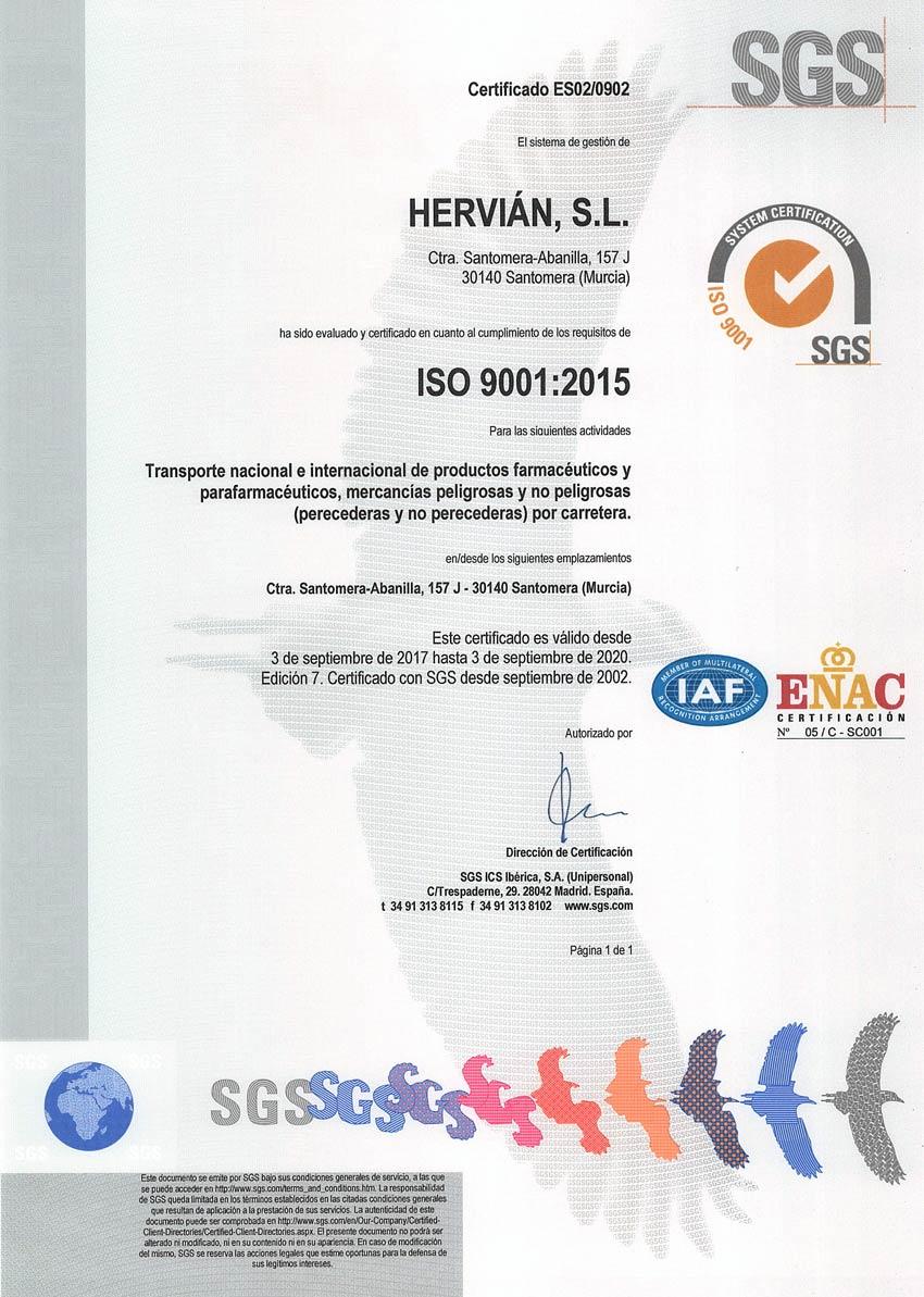 ISO 9001 calidad Hervian SL